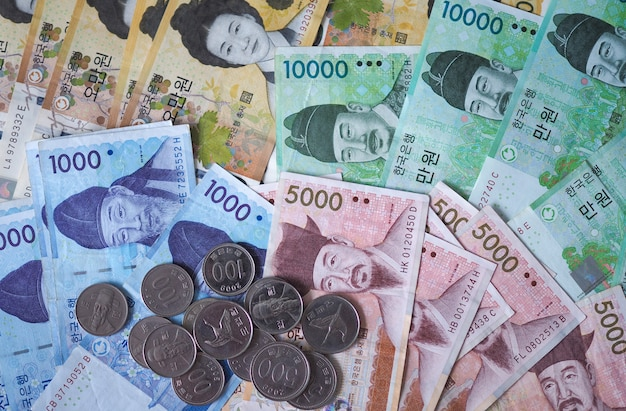 Korean won notes and korean won coins for money concept background