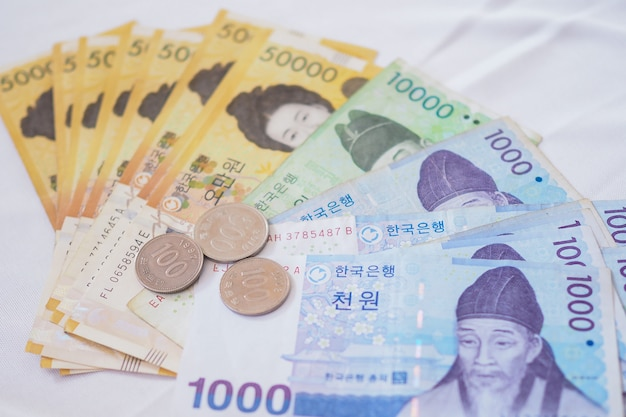 Korean won notes and korean won coins for money