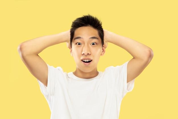 黄色のスタジオの背景に韓国の若い男の半身像。白いシャツの男性モデル。勝者やチャンピオンのように祝って幸せ。人間の感情、顔の表情の概念。