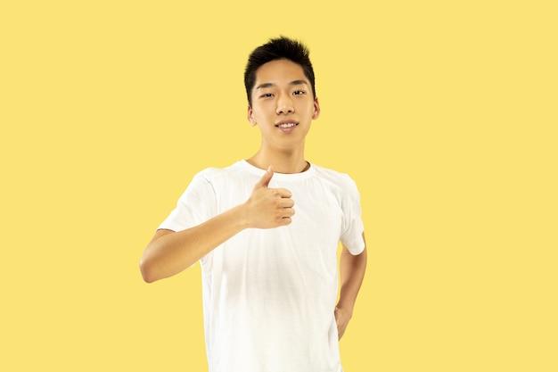 노란색 스튜디오 배경에 한국 젊은이의 절반 길이 초상화. 흰 셔츠에 남성 모델. 웃고 ok의 표시를 보여줍니다. 인간의 감정, 표정의 개념.