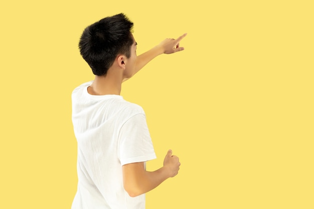 Korean young man's portrait. male model in white shirt. pointing up to the place for your ad. concept of human emotions, facial expression. trendy colors.