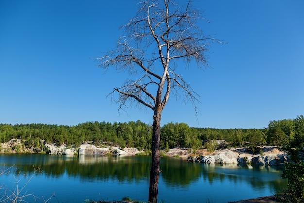 Korostyshevsky 채석장은 관광 명소인 zhytomyr 지역의 korostyshev 시 외곽에 있는 화강암 채석장에 범람했습니다. labradorite, gabbro 및 회색 화강암이 여기에서 채굴되었습니다. 풍경 o