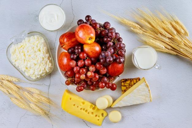 Kosher food on white surface