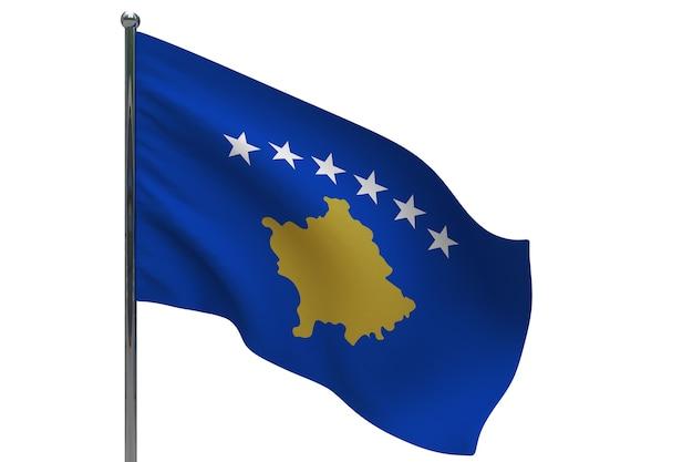 Флаг косово на шесте. металлический флагшток. национальный флаг косово 3d иллюстрация на белом