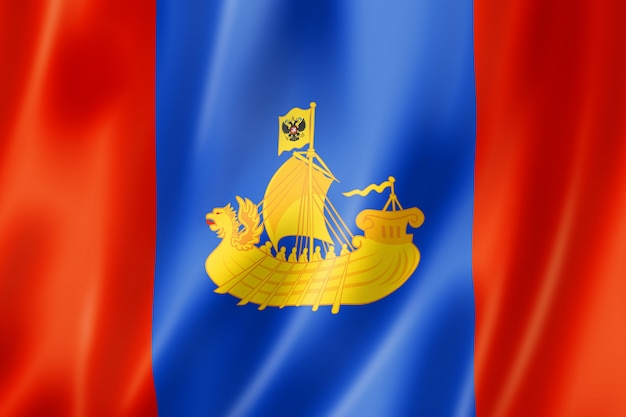 Kostroma state - oblast -  flag, russia waving banner collection. 3d illustration