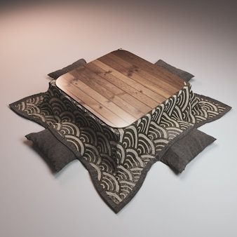 Kotatsu low table japanese style and pillow on white background.