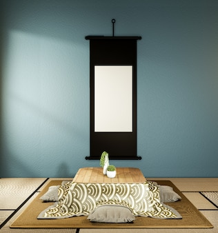 Kotatsu low table and pillow ontatami mat, dark blue room japan and frame mock up.3d rednering