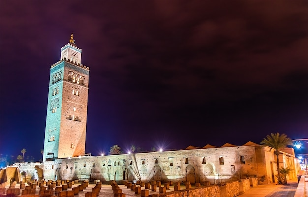 The koutoubia or kutubiyya mosque, the largest mosque in marrakesh - morocco