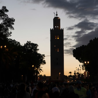 タワーのミナレット、koutoubiaモスク、マラケシュ、モロッコ