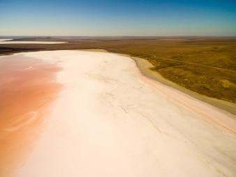 Koyashskoe pink salt lake in Crimea