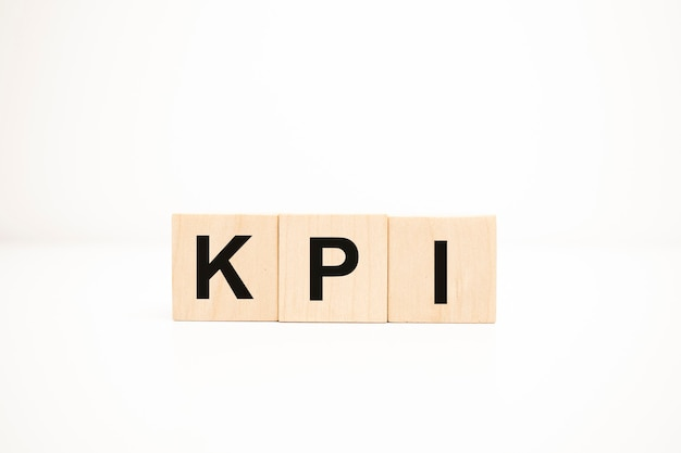Kpi concept on wooden cubes. business concept