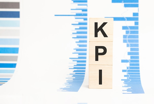Kpi sign on wooden cubes concept, wooden cubes.