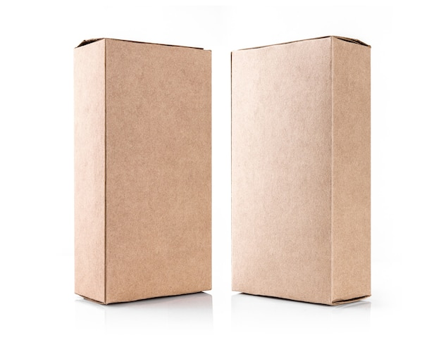 Kraft brown box made from recycled paper isolated on white