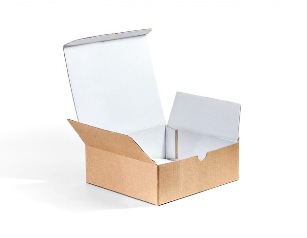 Kraft cardboard box made by recycled paper isolated