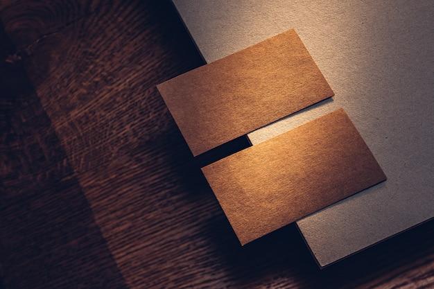 Kraft cardboard business cards design noble color rough texture