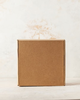 Kraft cardboard square closed box top view on a white background