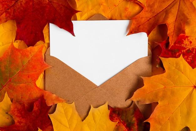 Крафт-конверт с белым листом бумаги на ярких кленовых листьях вид сверху осенний уютный фон