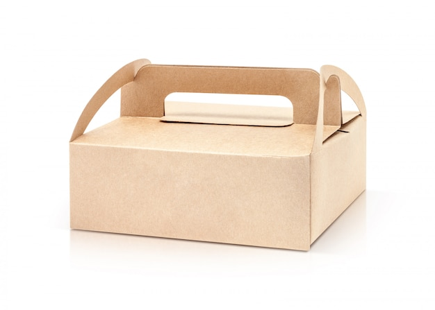 Kraft packaging paper box isolated on white background