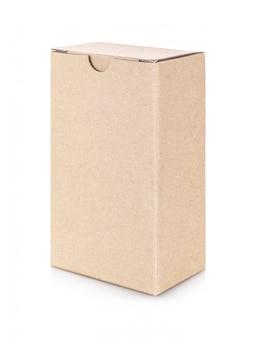 Kraft paper box isolated on white