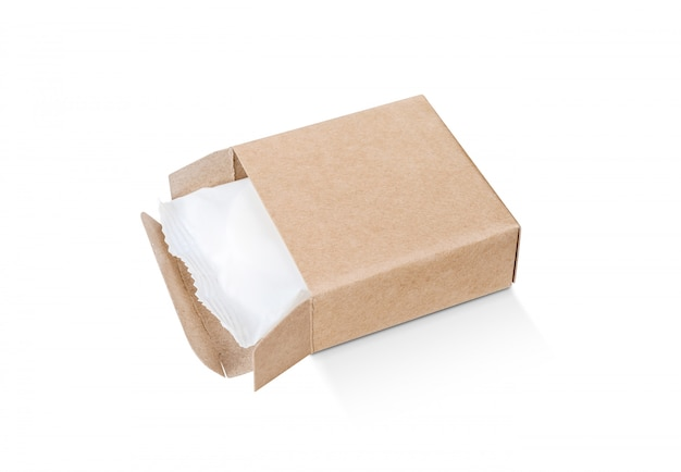 Kraft paper box with white plastic sachet for soap bar product