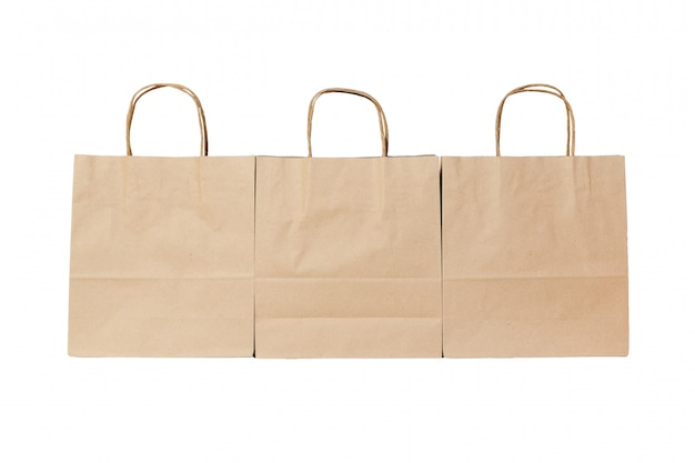 Kraft paper ecologic bag on isolated white