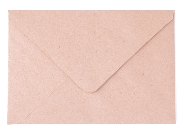 Kraft paper envelope on white isolated background. mail concept. top view