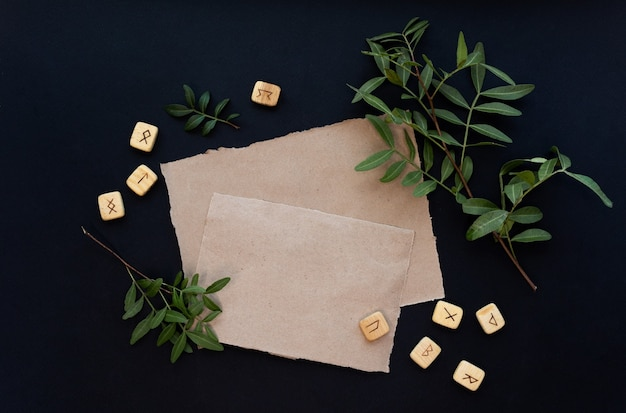 Kraft paper mockup template on black background with magical mysterious mood