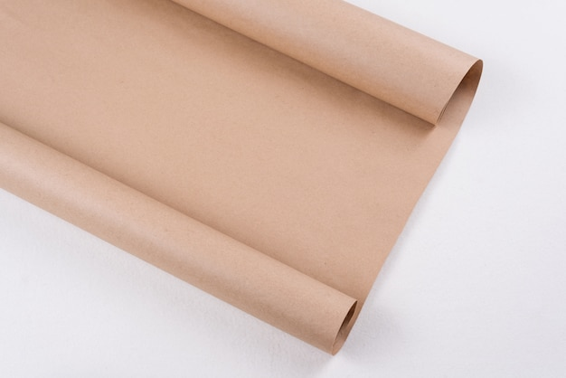 Kraft paper on roll, background texture, copy space