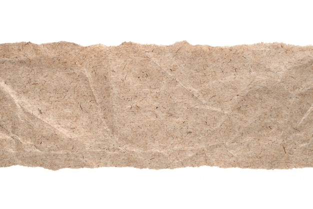 Kraft paper with torn edges isolated