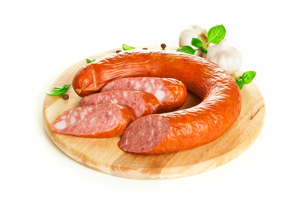Krakow sausage isolated on white background