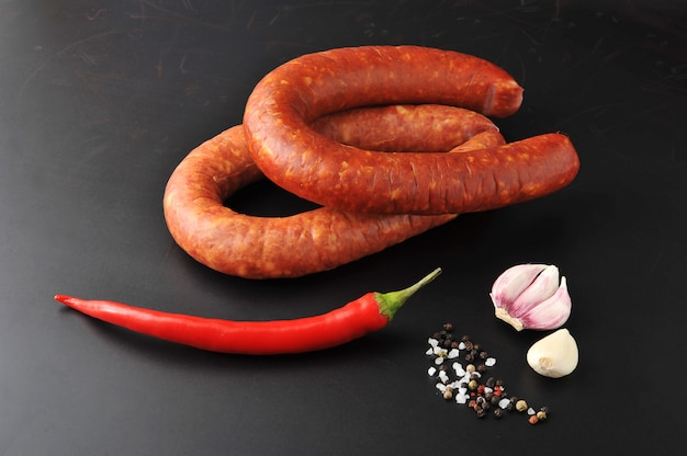 Krakow sausage with red chili pepper and spices