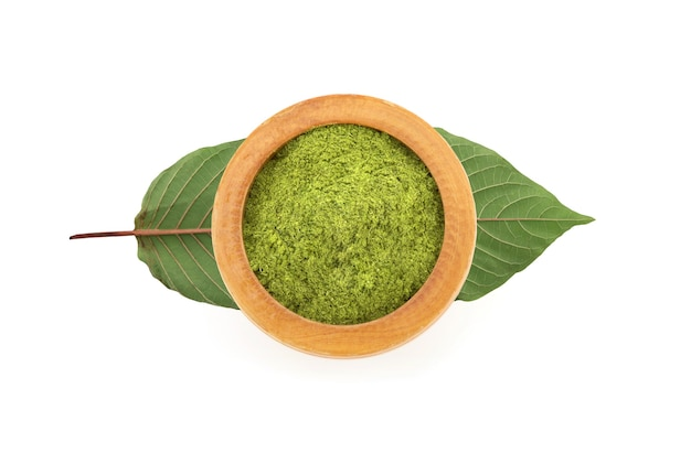 Kratom or mitragyna speciosa and powder isolated on white background with clipping path.top view,flat lay.