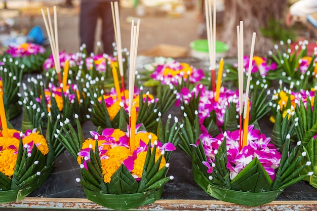 Kratong of floating basket by banana leaf for loy kratong festival