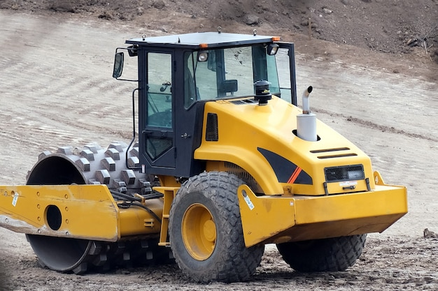 Kryvyi rih, ukraine - april, 2020.  construction heavy industrial machines make a new road