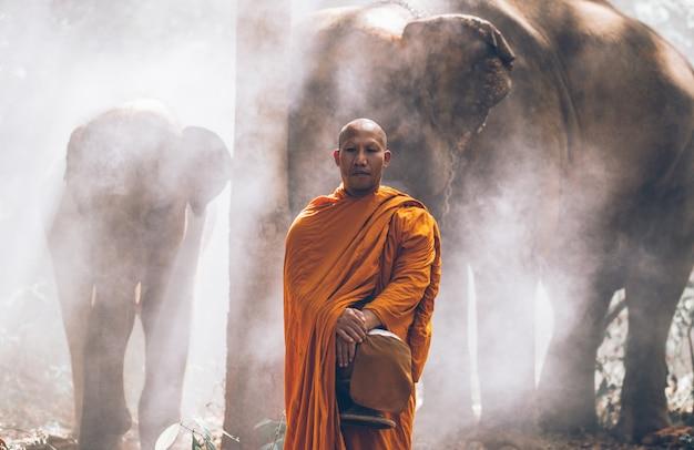 象とジャングルの中を歩くタイの僧ks