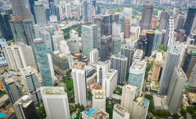 Куала-лумпур городской пейзаж вид горизонта вид сверху городской пейзаж в куала-лумпуре малайзия азии