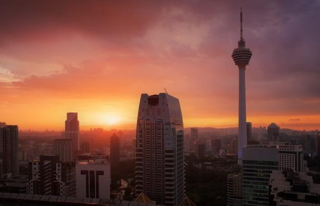 Kuala lumpur city at sunset , kuala lumpur skyline
