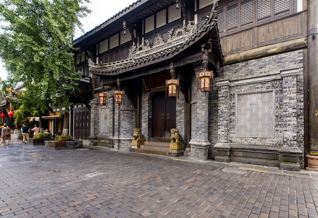 Kuan路地とzhai路地、成都、四川省の古い建物