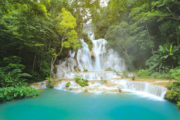 Kuang si waterfalls in luang prabang laos. long exposure. beautiful waterfall in wild jungle