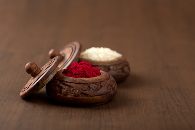 Kumkum and rice grain container. natural color powders are used while worshipping god and an at auspicious occasions.