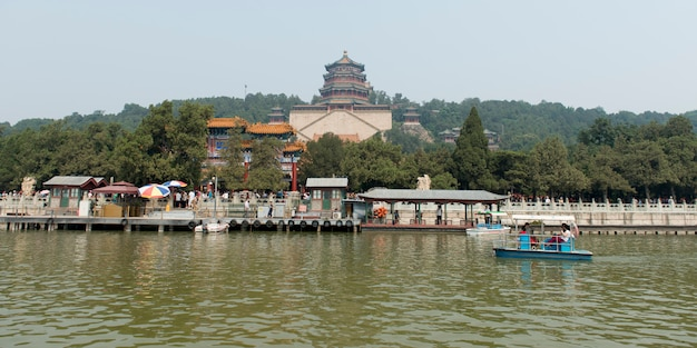 Kunming lake with tower of buddhist incense in the background, longevity hill, summer palace, haidia