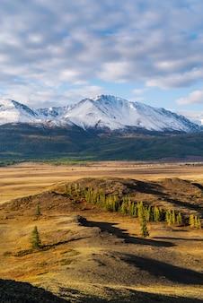 夜明けのクライ草原と北チュイスキー尾根。アルタイ山脈の秋。ロシア
