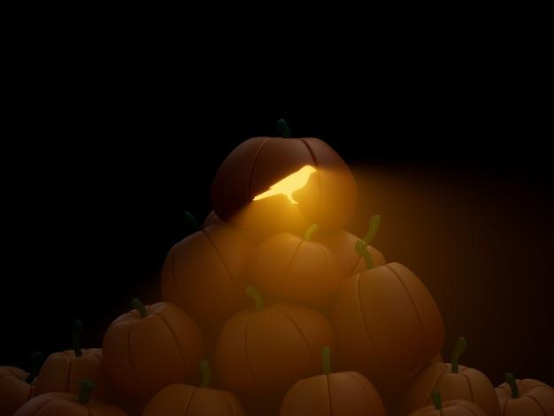 Kusama 새겨진 호박 스택 더미 암호화 통화 3d 그림 렌더링 어두운 조명