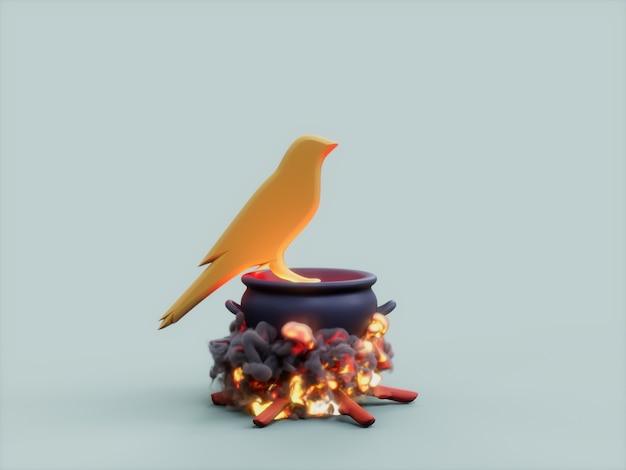 Kusama 가마솥 화재 요리사 암호화 통화 3d 그림 렌더링