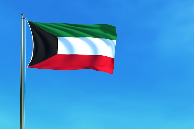 Kuwait flag on the blue sky background 3d rendering