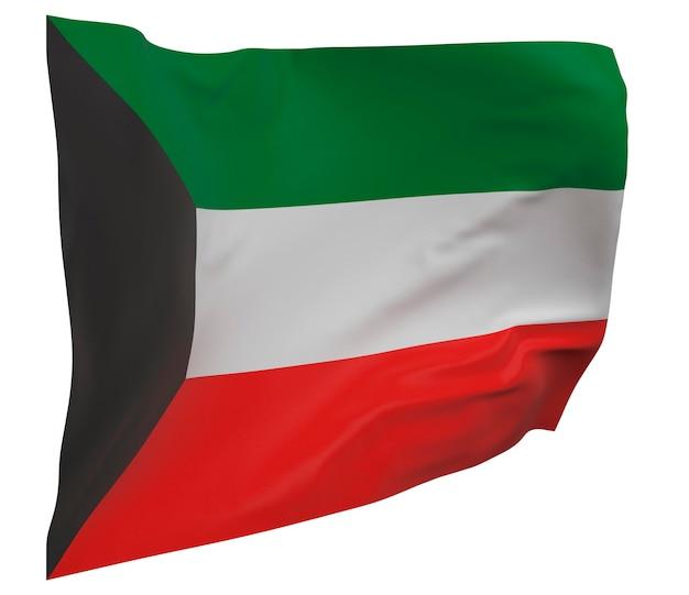 Флаг кувейта изолирован. размахивая знаменем. государственный флаг кувейта