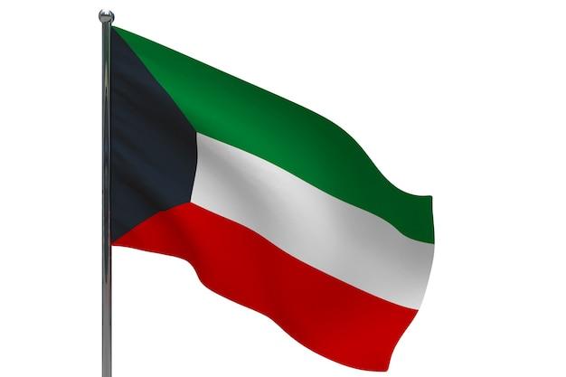 Флаг кувейта на шесте. металлический флагшток. национальный флаг кувейта 3d иллюстрация на белом