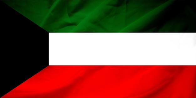Узор флага кувейта на текстуре ткани, винтажный стиль Premium Фотографии