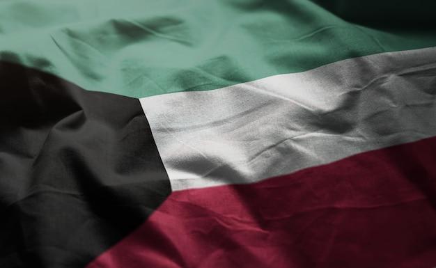 Kuwait flag rumpled close up