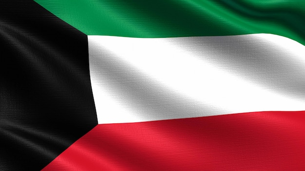 Kuwait flag, with waving fabric texture